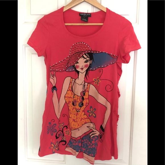 Neslay Paris Fun shirt 👚sz large